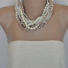Handmade Weddings Chunky Bold  Pearl Bridal  Necklace by kirevi8