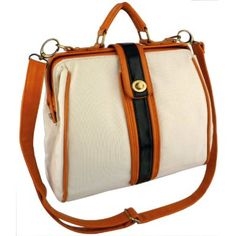 AIDEN Beige Canvas Orange Black Accent Top Handle Turn-lock Doctor Style Office Tote Handbag Purse Satchel Shoulder Bag: Clothing