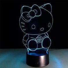 Hello Kitty LED Night Light //Price: $26.99 & FREE Shipping // World of Hello Kitty http://worldofhellokitty.com/new-hello-kitty-led-night-light-3d-lamp-7-colors-changing-touch-change-colors-decorative-table-lamp-girls-like-gifts/    #hellokitty