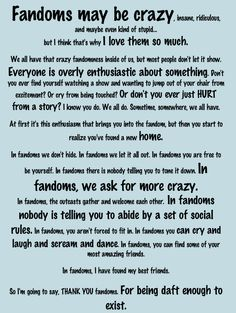 To all of my fandoms! This made me smile