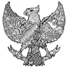 Batik culture on garuda silhouette black and white vector image on VectorStock Flower Neck Tattoo, Drawing Sketches, Art Drawings, Bull Skull Tattoos, Black And White Illustration, Outline Illustration, Small Back Tattoos, Indonesian Art, Batik Art