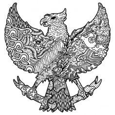 Batik culture on garuda silhouette black and white vector image on VectorStock Flower Neck Tattoo, Drawing Sketches, Art Drawings, Bull Skull Tattoos, Black And White Illustration, Outline Illustration, Small Back Tattoos, Indonesian Art, Batik Art