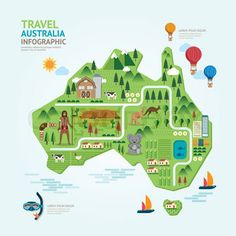 infographic travel and landmark australia map shape template design country navigator concept vector illustration