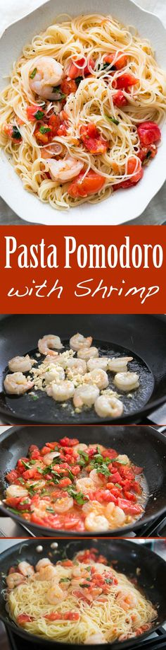So quick and easy! Angel hair pasta tossed with sautéed shrimp, garlic, tomatoes, and basil. Takes only 30 minutes to make! Perfect for a midweek meal. On SimplyRecipes.com #pastafoodrecipes