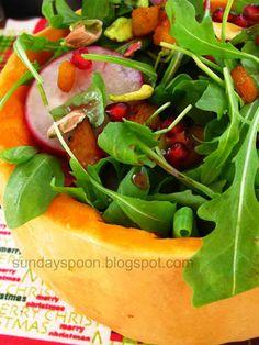 Salad with pumpkin, pistachio and pomegranate / Σαλάτα με κολοκύθα, φυστίκι Αιγίνης και ρόδι