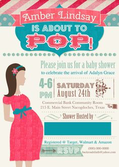 She's About To Pop Baby Shower Invitation by BackRoadsFaith, $15.00