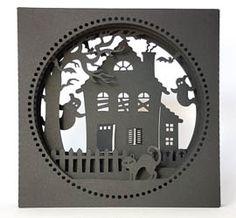 Halloweenkarte geschnitten mit meinem Plotter (Cameo) - Plotterdatei Tunnelkarte Spukhaus von MiriamKreativ.de