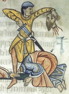 """From Folio """"Martydom of Peter and Paul,"""" from the illuminated manuscript The Ottobeuren Collectar, Germany, dated to the last quarter of the Century. Medieval Manuscript, Medieval Art, Medieval Fantasy, Illuminated Manuscript, Arming Sword, Bayeux Tapestry, Medieval Paintings, 12th Century, Archaeology"""