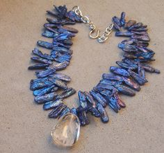 BUBBLE ICE QUARTZ PENDANT ROYAL BLUE BIWA PEARL NECKLACE WINTER ROCK GEMSTONE | eBay