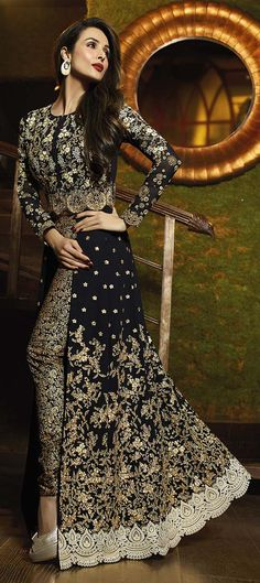 458322: Black and Grey  color family  stitched Bollywood Salwar Kameez .