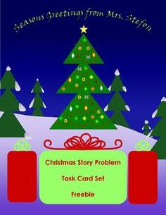 Christmas Story Problem Task Card Set  2 step story problems for grades 2-5
