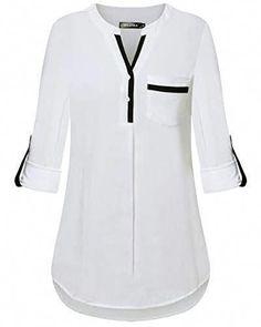 Shop the latest collection of DILISHA Women's Henley V Neck Rayon Blouses Cuffed Sleeve Casual Tunics Long Sleeve Shirt from the most popular stores - all in one place. Similar products are available. African Fashion Dresses, Fashion Outfits, Womens Fashion, Blouse Styles, Blouse Designs, Women's Henley, Tunic Tops, Long Sleeve, Online Shopping