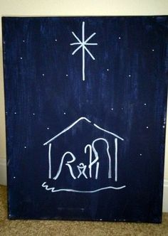 Simple Christmas Night Canvas Painting Simple Christmas Night Canvas Painting by HandmadeAMDG on Etsy Christmas Night, Christmas Nativity, Christmas Art, Christmas Projects, Simple Christmas, Holiday Crafts, Christmas Decorations, Christmas Ornaments, Christmas Ideas