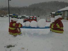 Fire dept this winter! Fire dept this winter! Firefighter Paramedic, Volunteer Firefighter, Paramedic Student, Firefighter Funny, Paramedic Humor, Nurse Humor, Snow Sculptures, Snow Fun, Build A Snowman