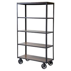 Industrial-style rolling bookcase with five solid hardwood shelves.   Product: BookcaseConstruction Material: ...