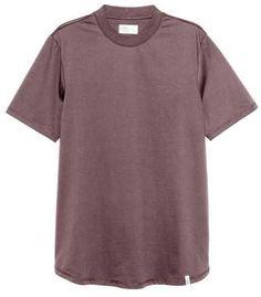 H&M - T-shirt with Ribbing - Dark brown - Men Mens Tee Shirts, T Shirt, David Beckham, Dark Brown, Stylish, Tops, Women, Fashion, Supreme T Shirt
