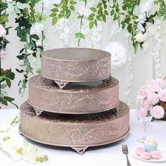 Blush Wedding Cakes, Dusty Rose Wedding, Wedding Cake Stands, Wedding Cake Toppers, Metal Cake Stand, Elegant Centerpieces, Caking It Up, Plate Stands, Different Light