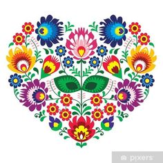 Hungarian Embroidery Stitch Polish folk art art heart embroidery with flowers - wzory lowickie Mexican Embroidery, Hungarian Embroidery, Folk Embroidery, Paper Embroidery, Embroidery Stitches, Polish Embroidery, Flower Embroidery, Embroidery Tattoo, Japanese Embroidery