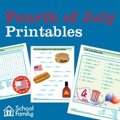 Worksheets and printables (free downloads) with a Fourth of July theme.