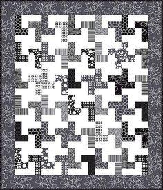 Black and White Geometric Quilt Design