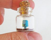 Friendly Blue Sidekick Beemo Adventure Time Bottle Necklace