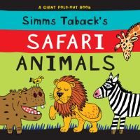 "Simms Taback's Safari Animals by Simms Taback. There are a few books in this ""series,"" each containing bright and colorful illustrations. Short text gives clues to what animal is pictured and the pages unfold to reveal. Great for toddlers."