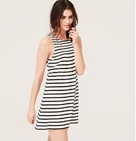 """LOFT Beach Striped Smocked Swimsuit Cover Up - A smocked yoke adds a sweet shot to this striped slubbed jersey style. Jewel neck. Sleeveless. Back keyhole with button closure. 31 1/2"""" from shoulder to hem."""