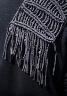 Macrame scarf, made using old t-shirts cut into strips and used as yarn, by Nunalab