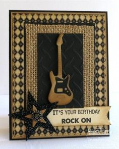 I used MFT Card Stock in Kraft and Black Licorice to create my guitar. I added a burlap panel, for texture, wanting to keep a masculine look. My guitar player hubby has a birthday coming up! My panels are cut out with the Rectangle STAX Die-namics 1 and 2.  http://apapermelody.blogspot.com/2013/03/mfts-march-teasers-day-2-rock-on.html  TFL, Melody