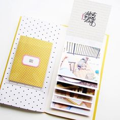 If you haven't seen it yet, contributor has a quick process video on how she… Mini Albums, Mini Scrapbook Albums, Scrapbook Journal, Scrapbook Pages, Travelers Notebook, Journaling, Bullet Journal Art, Photo Journal, Mini Books