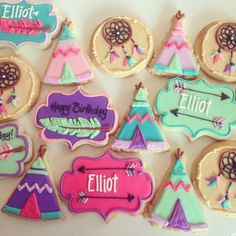 Girly TeePee Birthday - Hayley Cakes and Cookies Cookies Decorados, Galletas Cookies, Iced Cookies, Cute Cookies, Sugar Cookies, Cupcakes, Cupcake Cookies, 3rd Birthday, Birthday Parties