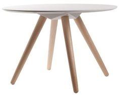 Zuiver Bijzettafeltje wit hout Ø75x50cm, Side table BEE  www.wonenmetlef.nl