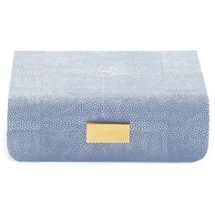 Aerin     Small Modern Shagreen Jewelry Box ($450) ❤ liked on Polyvore featuring home, home decor, jewelry storage, blue, blue home decor, modern jewelry box, blue jewelry box, modern home decor and mod home decor