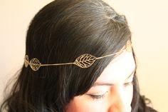 Gold Leaf chain halo headband- headdress- grecian- egyptian- boho- cleopatra.