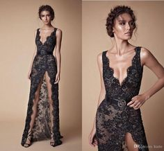 b58eefa53ed64 berta lace split black evening dresses Abendkleid