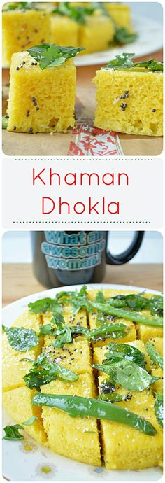 Steamed Gram flour cake, Instant Khaman Dhokla – a nutritious and irresistible Gujarati snack. gluten free if semolina omitted with same texture Indian Appetizers, Indian Desserts, Indian Snacks, Indian Food Recipes, Indian Dishes, Gujarati Cuisine, Gujarati Recipes, Gujarati Food, Savory Snacks