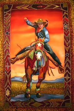 Nancy Cawdrey Contemporary Western Artist from Bigfork Montana. Western silk paintings and oil painting. Cow Girl, Cowboy Art, Cowboy And Cowgirl, Feather Painting, Silk Painting, Line Dance, Banners, Cowboy Images, Wild West Cowboys