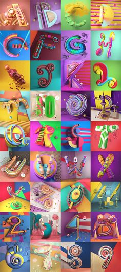 Colorful typographic 3D illustrations created by Carlo Cadenas for 36 Days of Type. — gorgeous!