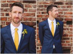 Wedding Suit groom portrait, yellow tie blue suit - Emma and Michael's Quirky and Mismatched Barn Wedding in York with lots of vintage touches By Jess Petrie Navy Blue Tux, Royal Blue Suit, Navy Groom, Dark Blue Suit, Blue Tuxedos, Yellow Ties, Blue Suits, Navy Yellow Weddings, Blue Suit Wedding