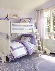 Girls Bedroom 18: Paint color is Benjamin Moore: 2070-60 Lavender Mist.  Absolutely perfect for Alana's room! Pipers room color & bedding love this.
