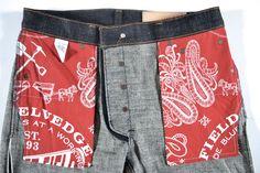 Left Field American made workwear bandana pocket bags Mens Dark Jeans, Denim Jacket Men, Denim Pants, Men Shorts, Denim Jackets, Men's Jeans, Khaki Pants, Trousers, Raw Denim