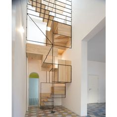 Italian architecture studio Francesco Librizzi designed an impressive sculptural staircase in a fisherman's cottage located in Sicily Modern Staircase, Staircase Design, Stair Design, Spiral Staircase, Staircase Landing, House Staircase, Contemporary Stairs, Floating Staircase, Staircase Ideas