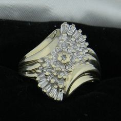 Beautiful 14K Yellow Gold Diamond Cluster Ring by TraderMagees, $600.00