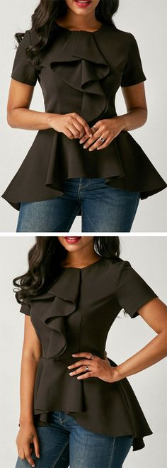 Asymmetric Hem Black Flouncing Short Sleeve Blouse.