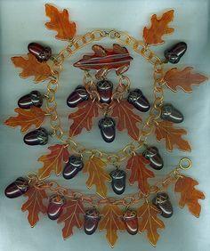 Bakelite Acorn and Carved Leaf Necklace, Bracelet, and Brooch Set.