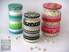 Jars, decorated with Washi Tape by http://starsstripesanddots.blogspot.gr