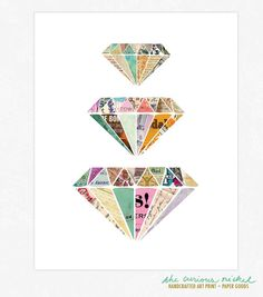 Hey, I found this really awesome Etsy listing at https://www.etsy.com/listing/102850988/colorful-diamonds-art-print-collage-art