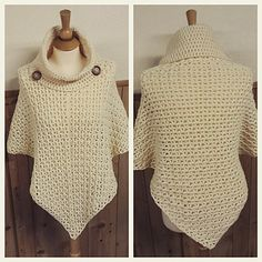 Written instructions provided as a PDF digital download to create a cowl neck poncho. This pattern is written for you to be able create child size 2-16 and adult women size 6-16 poncho.