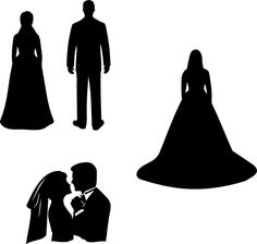 Here are some wedding silhouettes.  The separate brides and groom were from a recent request, and the couple silhouette was one I posted a while back. The download is a zipped folder with  svg file...