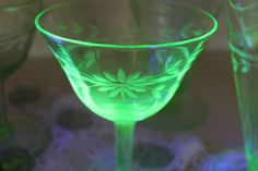 Set of 7 Green Depression Glass Tall Sherbets and by MadGirlRetro